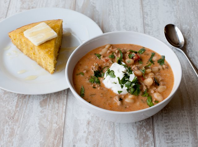 Turkey & Bean Chili with Salad and Cornbread by Chef Katie Cox