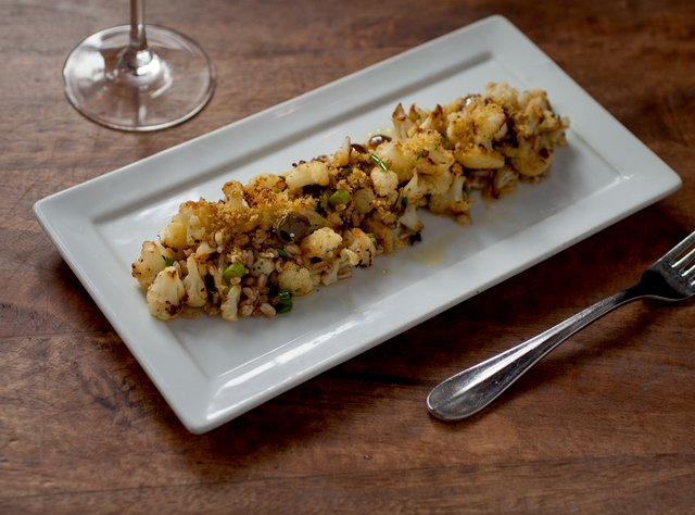 Roasted Cauliflower Farro and Taggiasca Olive Salad by Chef Ethan Stowell