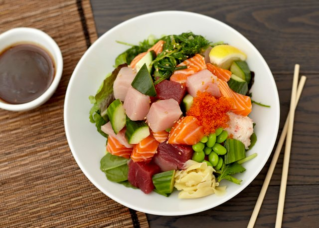 Sashimi Salad with Hawaiian Vinaigrette by Chef Hideaki Taneda