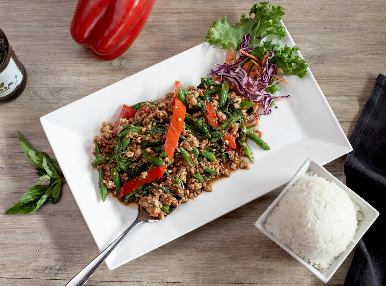 Thai Basil Chicken Boxed Lunch by Chef Pik Kookarinrat