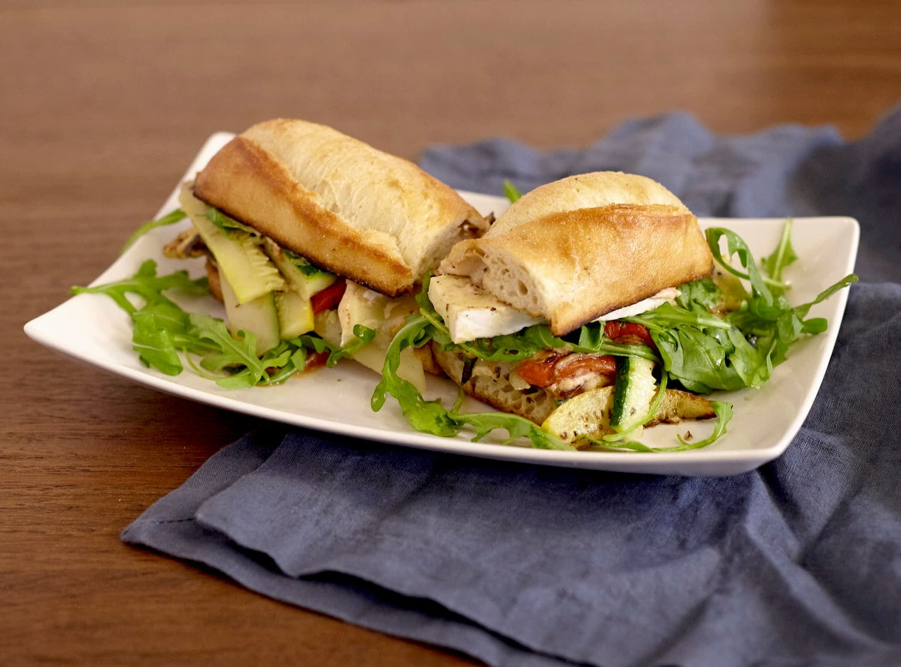 Gluten-Free Roasted Veggie Baguette Sandwich with Side Salad by Chef Lilly Gjekmarkaj