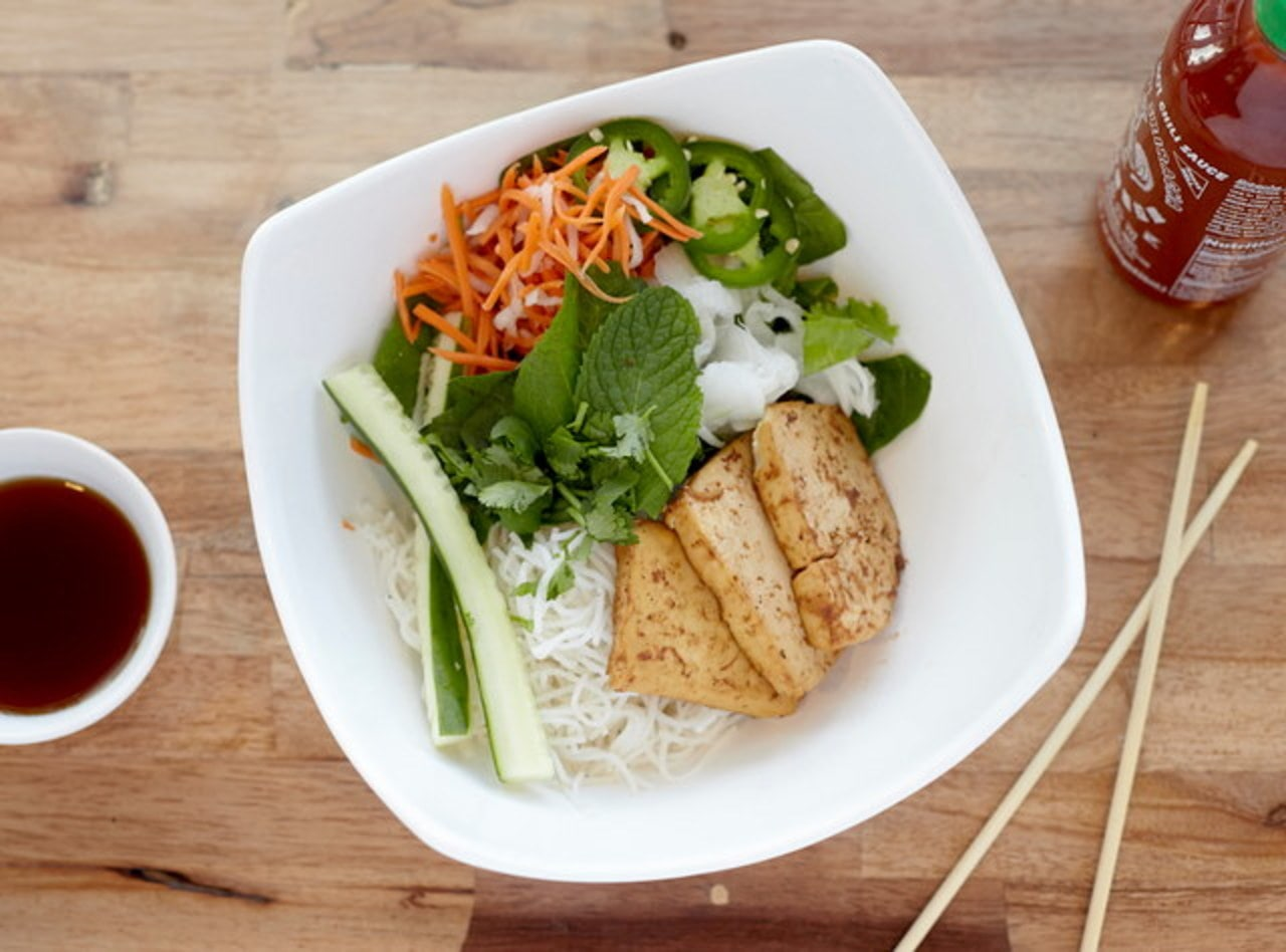 Vegan Tofu Vermicelli Bowl by Chef John Tran