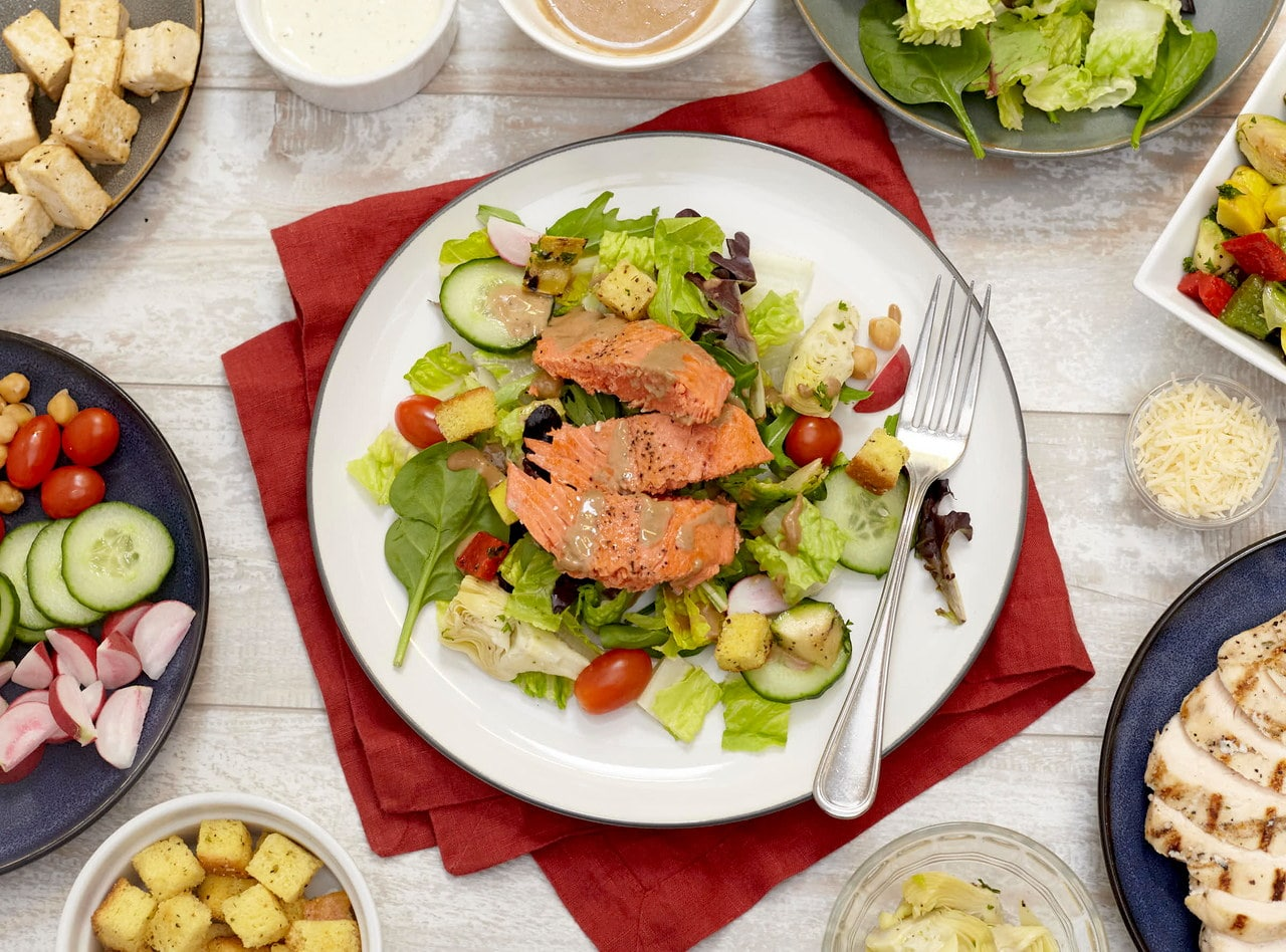 Build Your Own Salad Bar with Roast Salmon by Chef Guru Sigdel