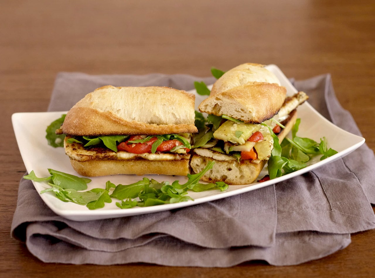 Gluten Free Chicken Pesto Baguette Sandwich with Side Salad by Chef Lilly Gjekmarkaj