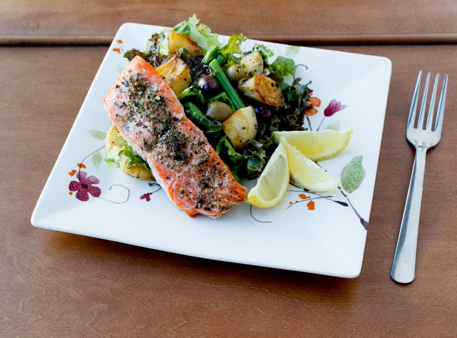 Grilled Salmon with Market Greens & Sweet Potato by Chef Amanda Sue
