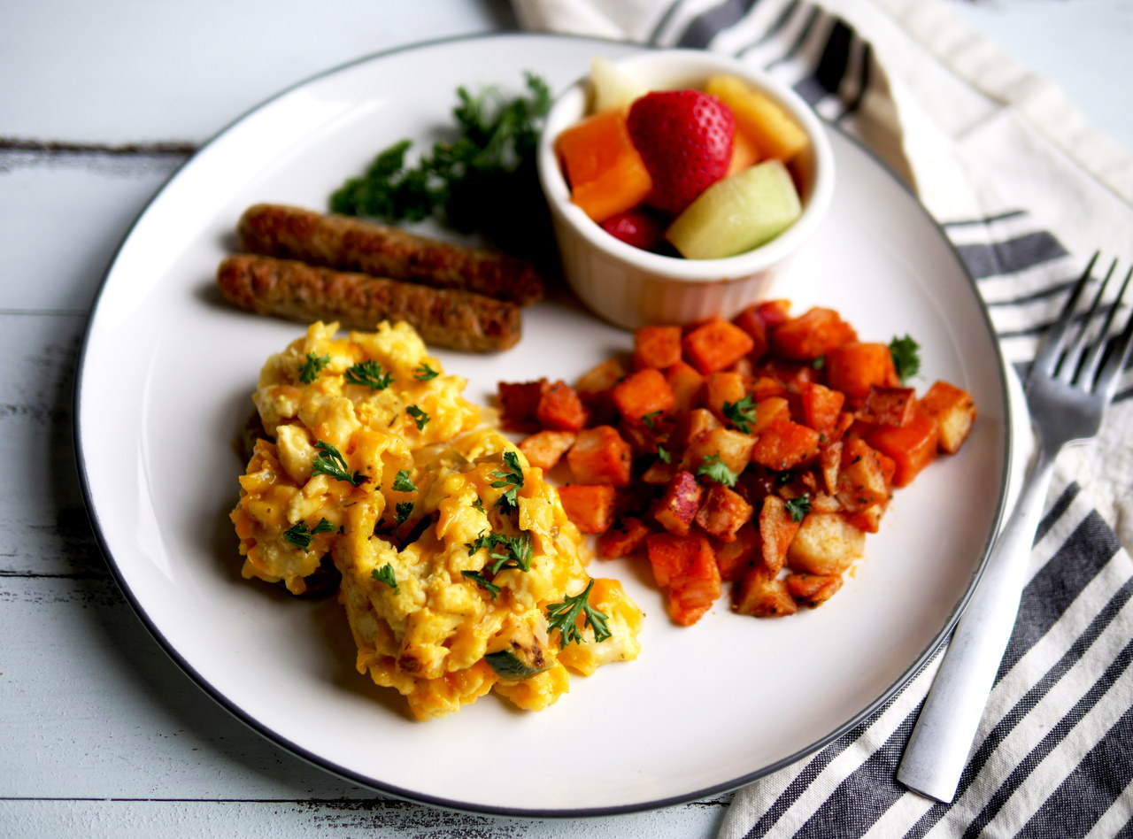Cheesy Farmer's Scramble Breakfast with Vegan Sausage by Chef Jesse & Ripe Catering Team