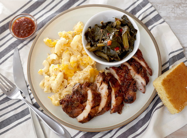 BBQ Chicken with Mac & Cheese & Cornbread by Chef Jenn Strange