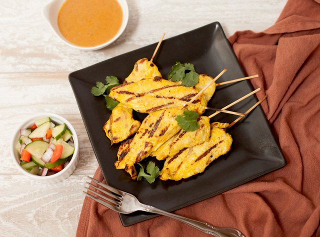 Chicken Satay with Peanut Sauce by Chef Tanya Jirapol