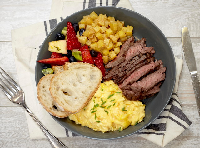 Cheesy Eggs, Grilled Flank Steak, and Roasted Potatoes (sm) by Chef Natalie Lamberjack