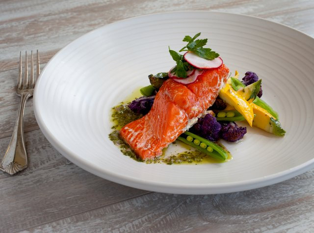Salmon with Cauliflower Trio and Salsa Verde by Chef Ericka Burke