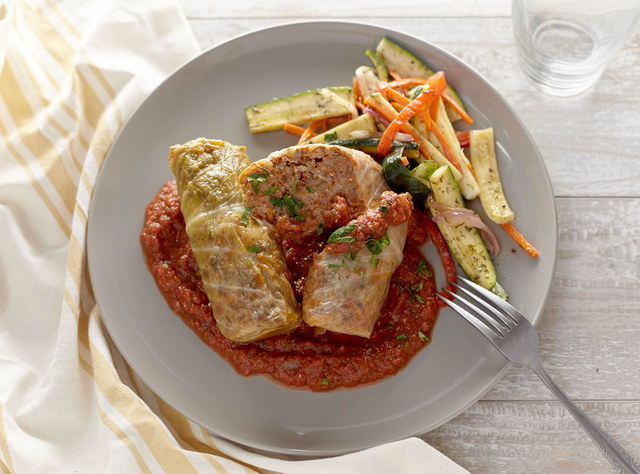 Beef Cabbage Rolls with Smashed Potatoes & Green Beans by Chef Jenn Strange
