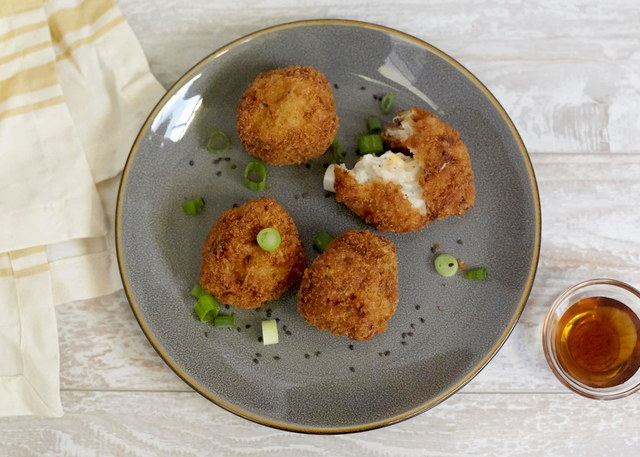 Satoimo Onion Cheese Croquettes by Chef Chieko Fukuoka