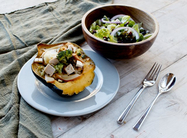Stuffed Acorn Squash with Fresh Salad by Chef Amanda Sue