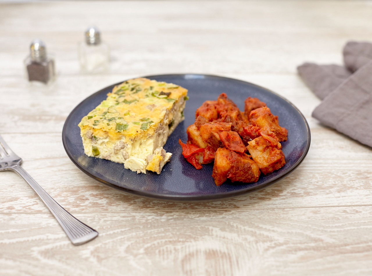 Sausage, Cheddar and Scallion Frittata by Chef Jenn Strange