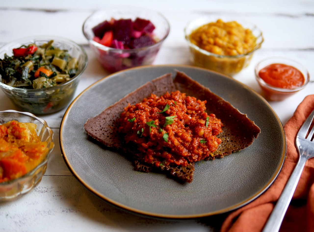 Ethiopian Red Lentil Platter by Chef Mulu Abate