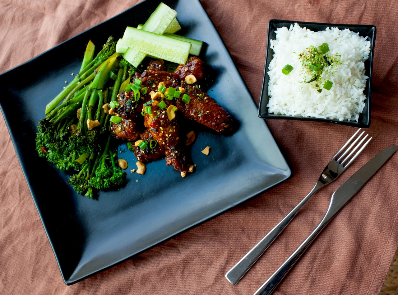 Kung Pao Chicken Wings & Broccoli Raab by Chef Devin Barich