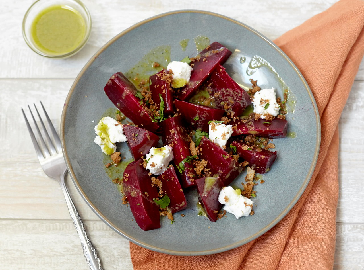 Marinated Beet Salad with Goat Cheese by Chef Jenn Strange