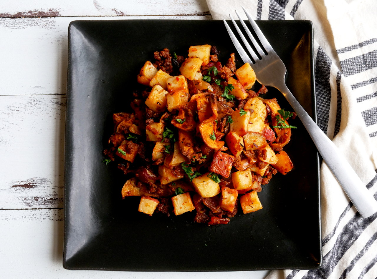 Extra Spicy Chipotle Field Roast and Apple Hash by Chef Jesse & Ripe Catering Team