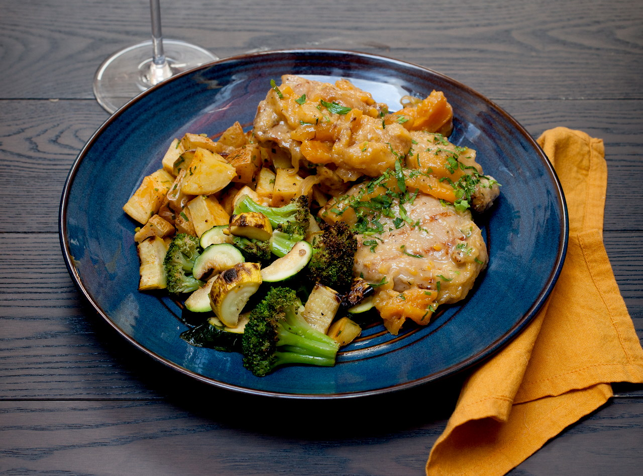 Apricot Chicken with Roasted Potatoes by Chef Guru Sigdel