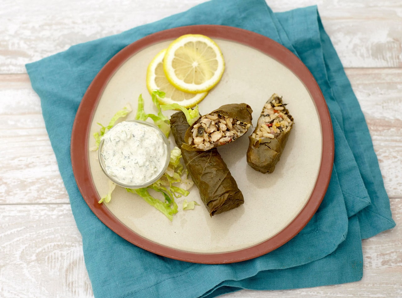White Bean and Kale Dolmades with Tzatziki by Chef Jenn Strange