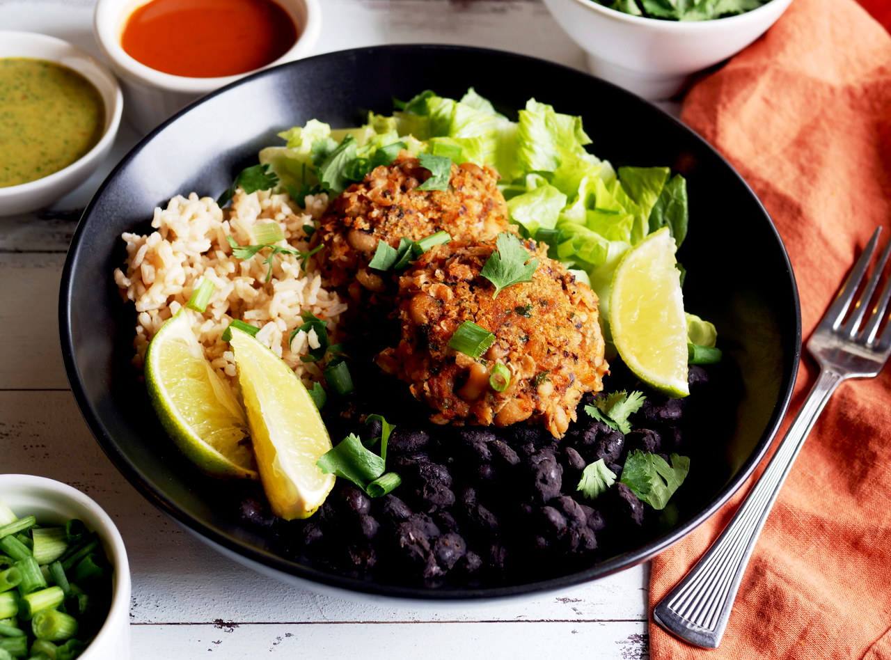 Grab 'n Go Black Eyed Pea Patty Quinoa Bowl by Chef Mulu Abate