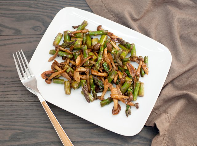 Soy Buttered Asparagus and Mushrooms by Chef Steve Shafer